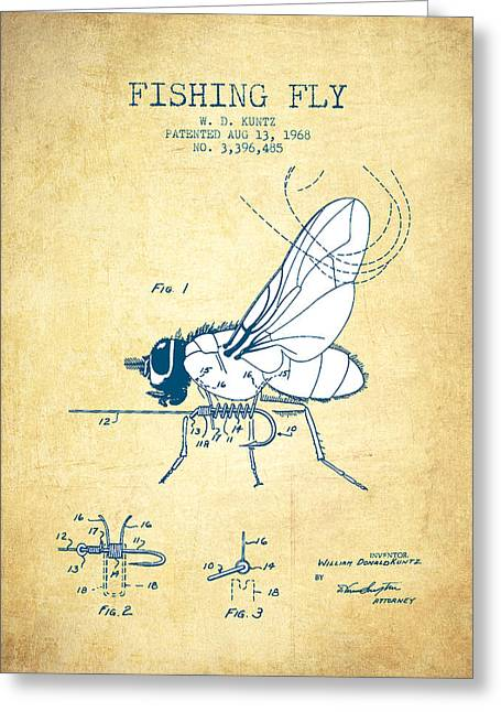 Tackle Greeting Cards - Fishing Fly Patent Drawing from 1968 - Vintage Paper Greeting Card by Aged Pixel