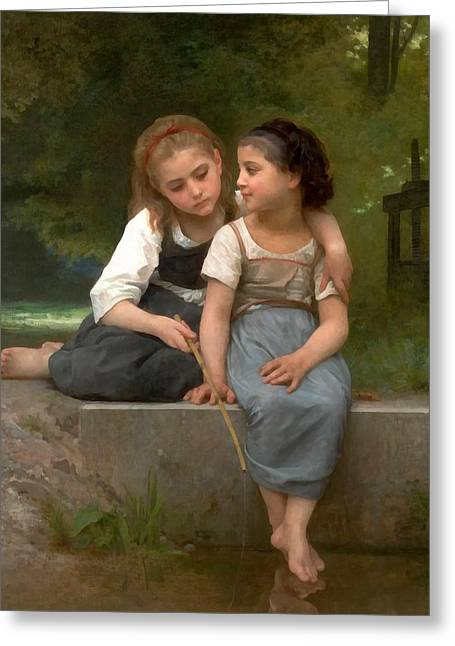 Fishing Creek Digital Greeting Cards - Fishing For Frogs Watercolor Version Greeting Card by William Bouguereau