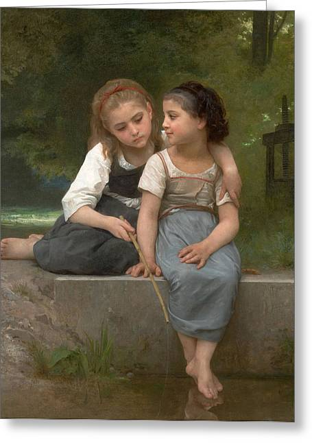 Fishing Creek Digital Greeting Cards - Fishing For Frogs Greeting Card by William Bouguereau