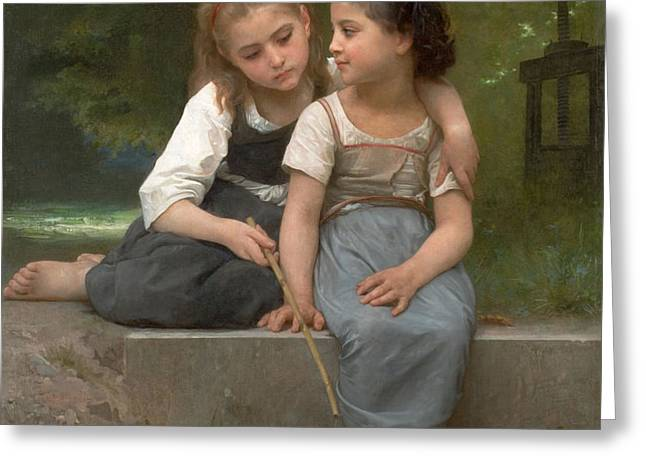 Fishing For Frogs Greeting Card by William Bouguereau