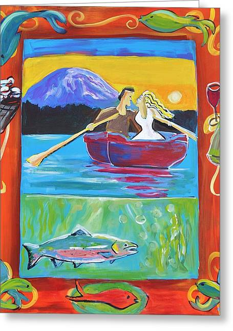 Salmon Paintings Greeting Cards - Fishing for Love Greeting Card by Shannon Lee