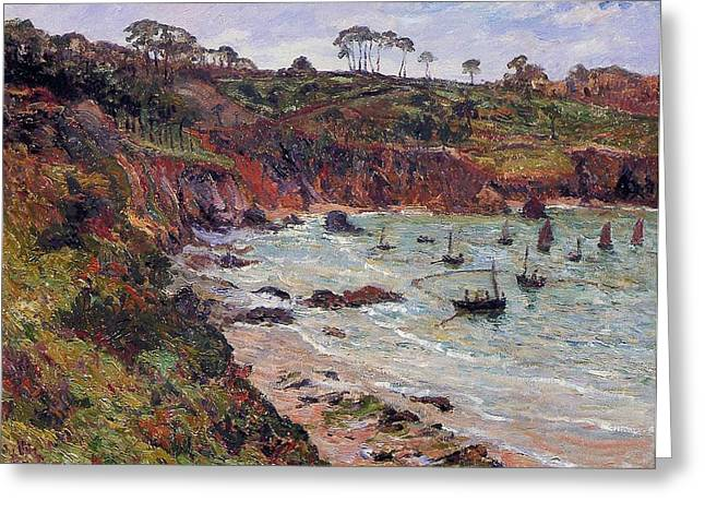 Fishing For Sprats Greeting Card by MAxime Emile Louis Maufra