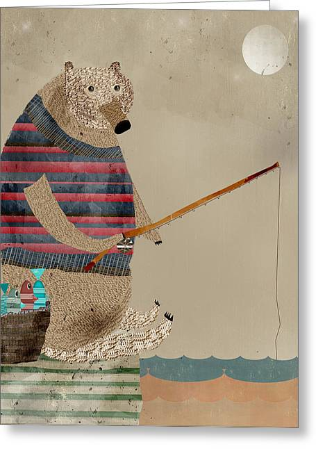 Quirky Greeting Cards - Fishing For Supper Greeting Card by Bri Buckley