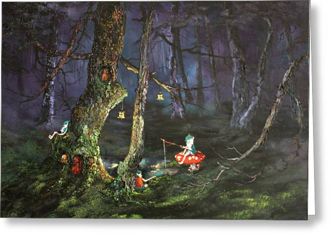 Jean Walker Greeting Cards - Fishing for supper on Cannock Chase Greeting Card by Jean Walker