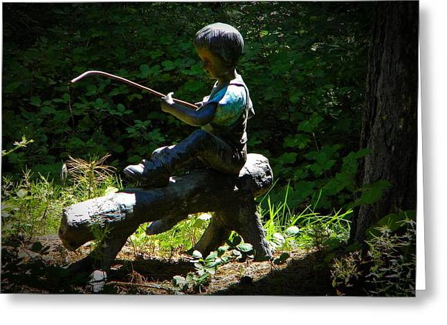 Garden Statuary Greeting Cards - Fishing Greeting Card by Frank Wilson