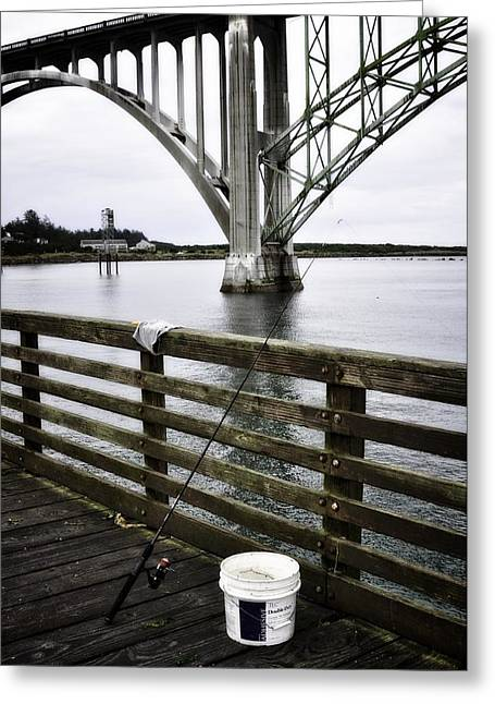 Wooden Platform Greeting Cards - Fishing From The Pier Greeting Card by Image Takers Photography LLC - Laura Morgan