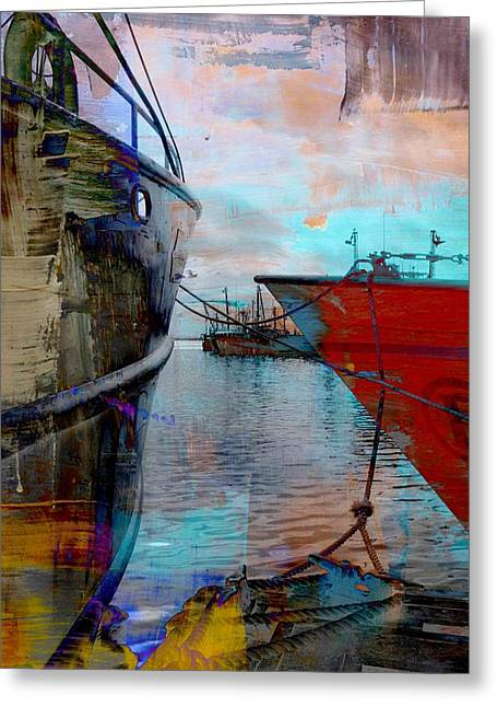 Coorful Greeting Cards - Fishing Harbor In Abstract Greeting Card by Elizabeth Lima