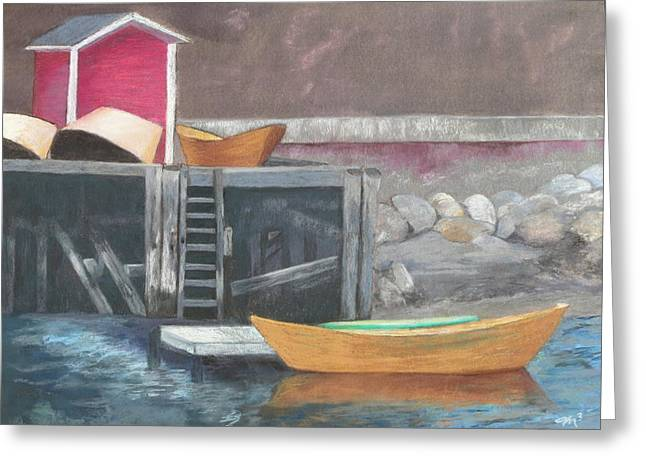 Docked Boat Pastels Greeting Cards - Fishing Harbor - Nova Scotia Greeting Card by Marilyn Mull
