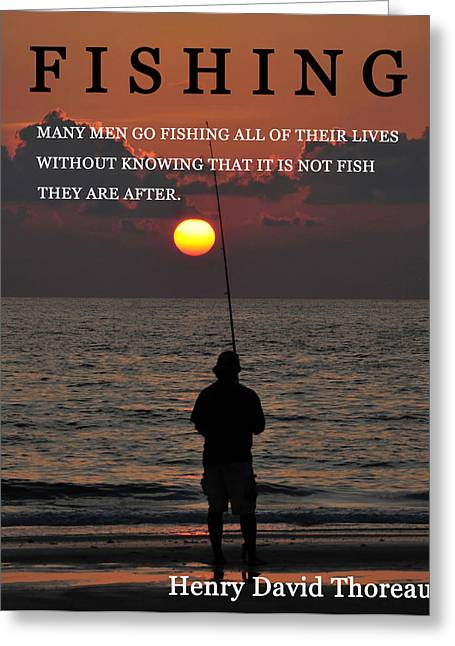 Fishing Henry David Thoreau Greeting Card by David Lee Thompson