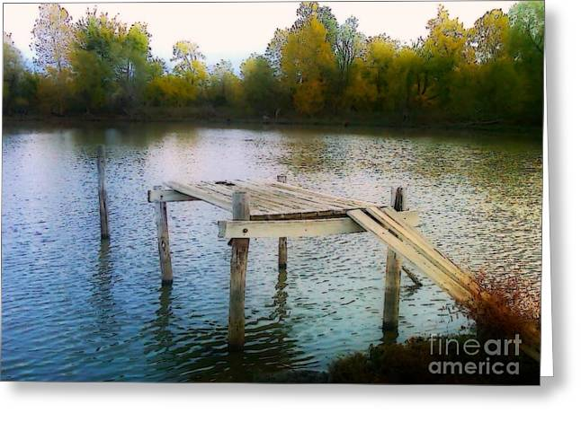 Huckleberry Digital Art Greeting Cards - Fishing Hole Greeting Card by Andooga Design