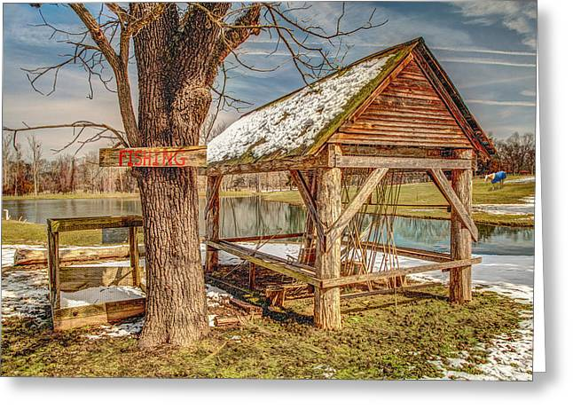 Sheds Greeting Cards - Fishing Hole Greeting Card by Bobby  Hicks
