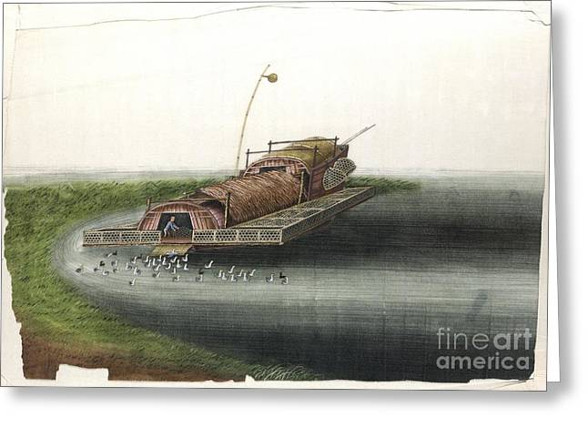 Gouache Photographs Greeting Cards - Fishing Houseboat In China, 19th Century Greeting Card by British Library