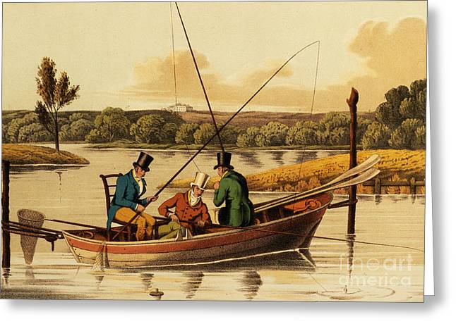 Hunting Greeting Cards - Fishing in a Punt Greeting Card by Henry Thomas Alken