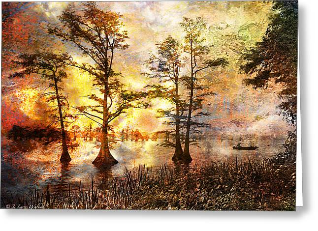 Waterscape Digital Art Greeting Cards - Fishing In Another World Greeting Card by J Larry Walker