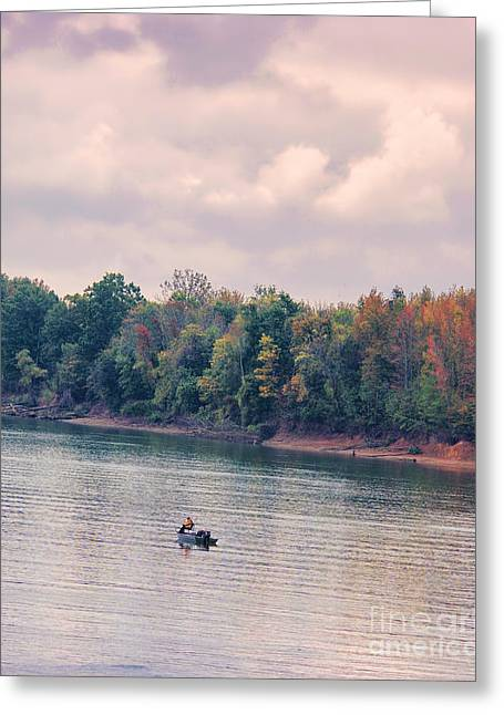 Tennessee River Greeting Cards - Fishing in Autumn Greeting Card by Jai Johnson