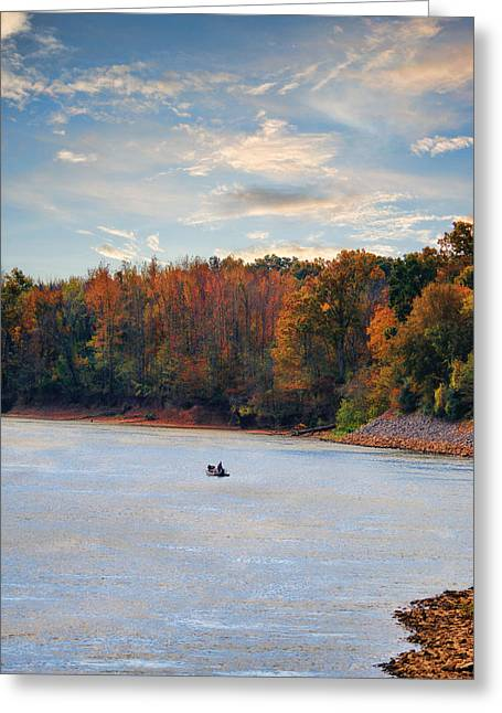 Tennessee River Greeting Cards - Fishing in Autumn - River Scene Greeting Card by Jai Johnson