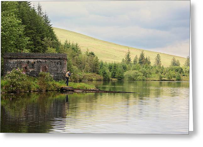 Welsh Reservoirs Greeting Cards - Fishing in Brecon Greeting Card by Dan Davidson