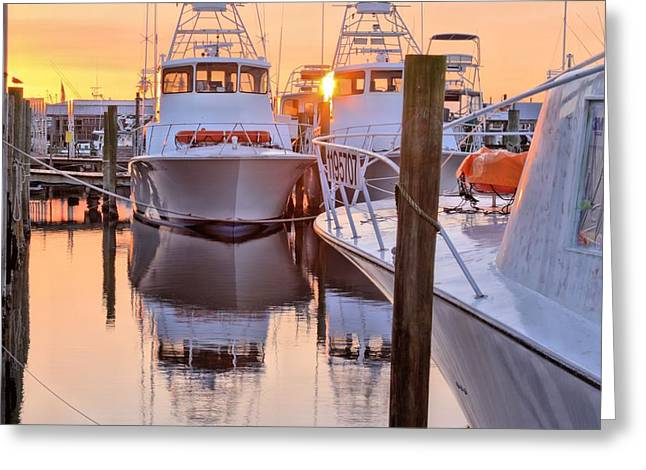 Boats In Harbor Greeting Cards - Fishing in Destin  Greeting Card by JC Findley
