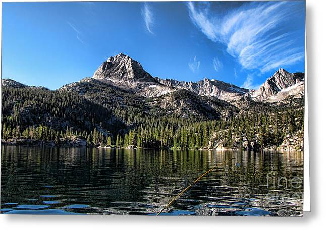Bishops Peak Greeting Cards - Fishing in Lake Sabrina Greeting Card by Bedros Awak