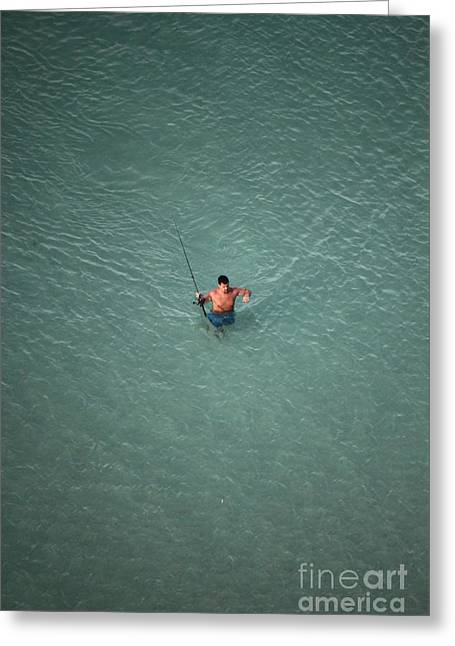 Bare Chested Greeting Cards - Fishing in the deep blue waters of Floridas Emerald Coast Greeting Card by Jennifer Doll