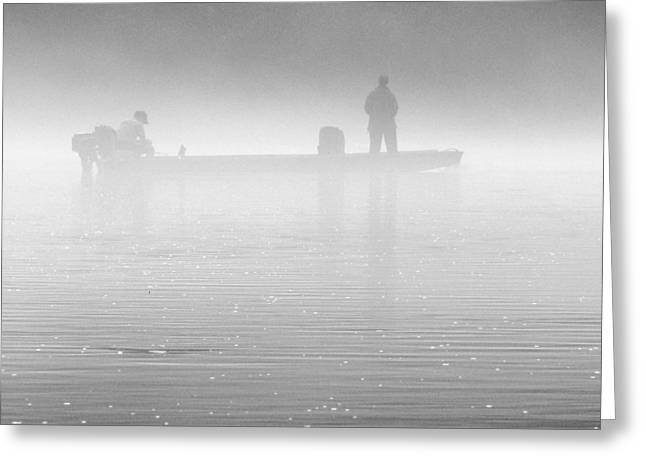 Trout Fishing Greeting Cards - Fishing in the Fog Greeting Card by Mike McGlothlen
