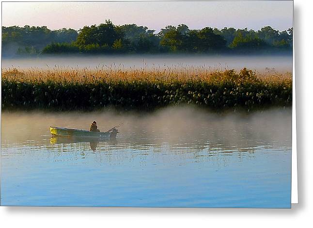 Fishing Boats Greeting Cards - Fishing in the Fog on the Dnieper River Greeting Card by Beth Wolff