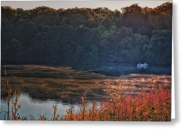 Argyle Digital Greeting Cards - Fishing In The Fog Greeting Card by Thomas Woolworth