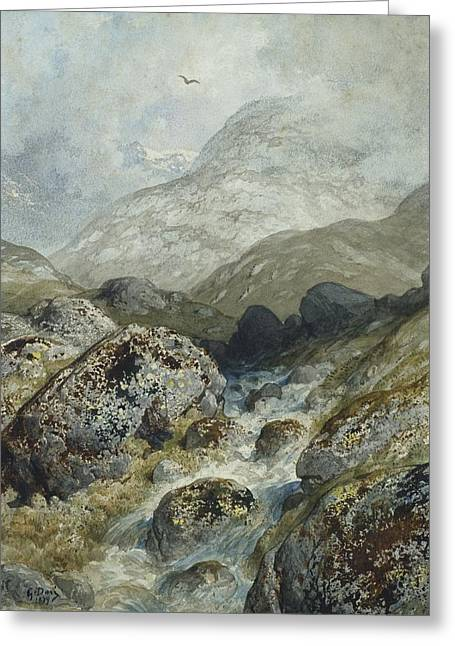 Rapid Paintings Greeting Cards - Fishing in the mountains Greeting Card by Gustave Dore