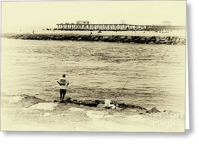 Old Man And The Sea Greeting Cards - Fishing in the Sound Greeting Card by John Rizzuto