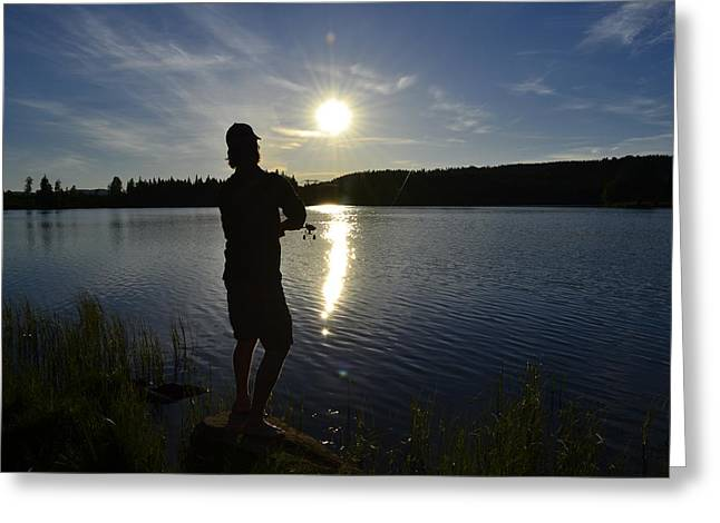 Sunset In Norway Greeting Cards - Fishing in the sunset Greeting Card by Per Kristiansen
