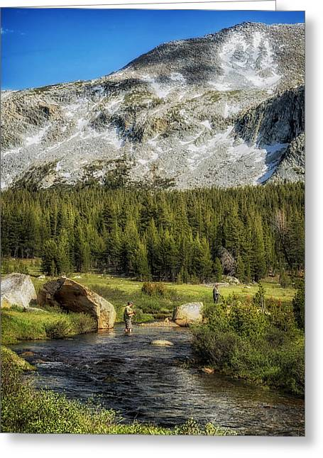 Yosemite Creek Greeting Cards - Fishing in Yosemite Greeting Card by Mountain Dreams