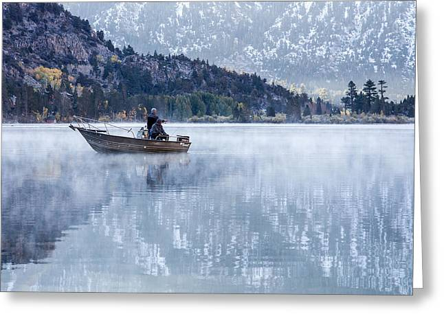 Ghose Greeting Cards - Fishing Into Silver Greeting Card by Priya Ghose