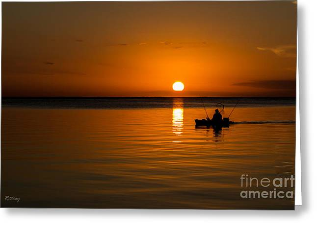 Gold Trout Greeting Cards - Fishing into the Night Greeting Card by Rene Triay Photography