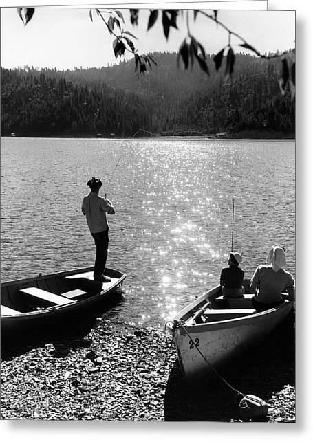 Spokane Greeting Cards - FISHING into the SUN  1930 Greeting Card by Daniel Hagerman