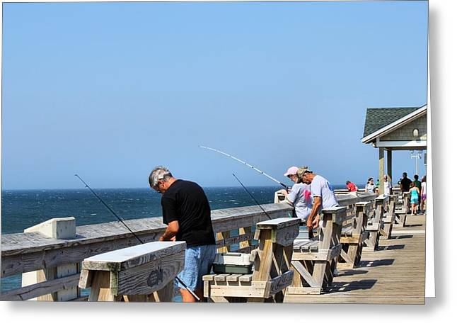 Fishing Is Serious Business Greeting Card by Carolyn Ricks