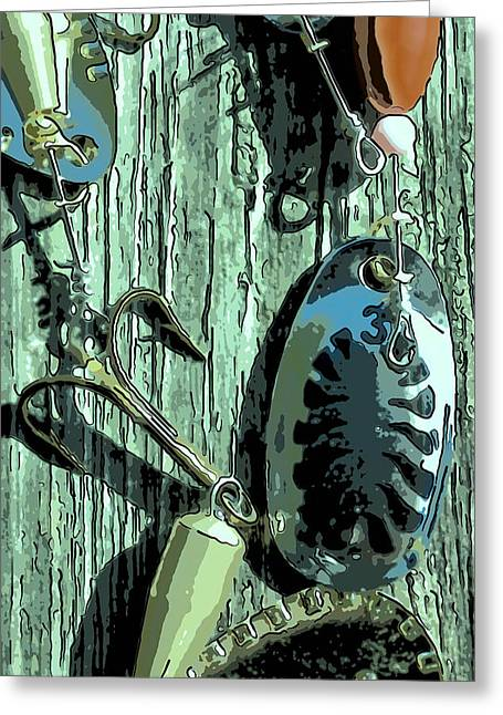 Stainless Steel Greeting Cards - Fishing lure in close-up Greeting Card by Toppart Sweden