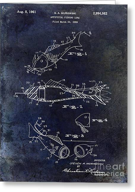 Fly Photographs Greeting Cards - Fishing Lure Patent 1959 Blue Greeting Card by Jon Neidert