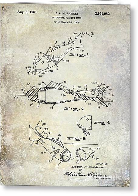 Trout Fishing Greeting Cards - Fishing Lure Patent 1959 Greeting Card by Jon Neidert