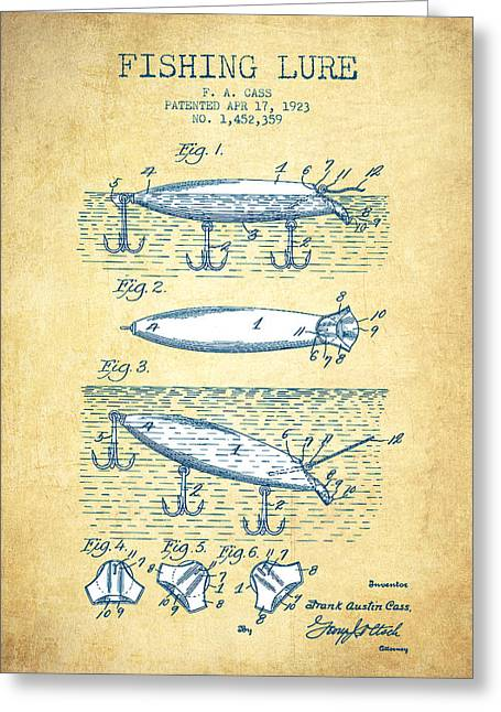 Gone Fishing Greeting Cards - Fishing Lure Patent Drawing from 1923 - Vintage Paper Greeting Card by Aged Pixel