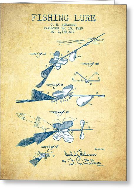 Tackle Greeting Cards - Fishing Lure Patent Drawing from 1929 - Vintage Paper Greeting Card by Aged Pixel