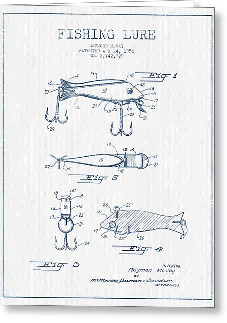 Tackle Digital Greeting Cards - Fishing Lure Patent Drawing from 1956 - Blue Ink Greeting Card by Aged Pixel