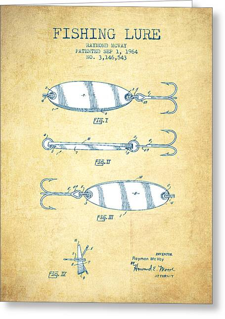 Gone Fishing Greeting Cards - Fishing Lure Patent Drawing from 1964 - Vintage Paper Greeting Card by Aged Pixel