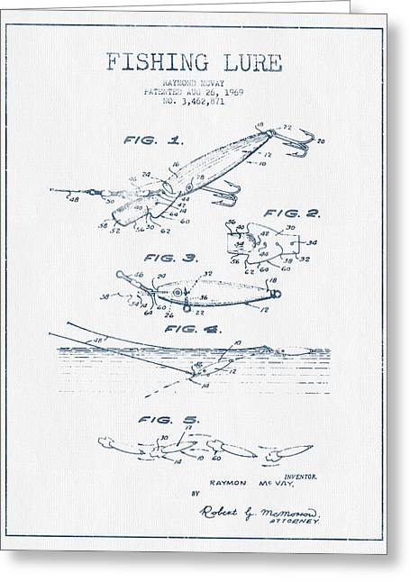 Fishing Greeting Cards - Fishing Lure Patent Drawing from 1969 - Blue Ink Greeting Card by Aged Pixel