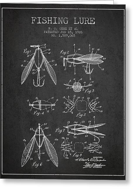 Tackle Greeting Cards - Fishing Lure Patent from 1926 - Charcoal Greeting Card by Aged Pixel