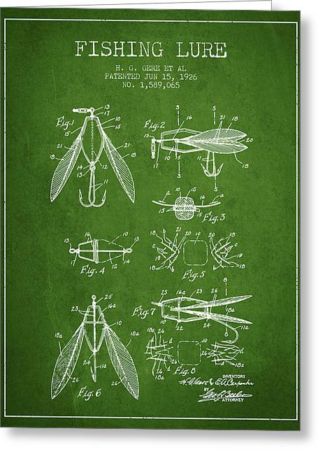 Fishing Rods Greeting Cards - Fishing Lure Patent from 1926 - Green Greeting Card by Aged Pixel