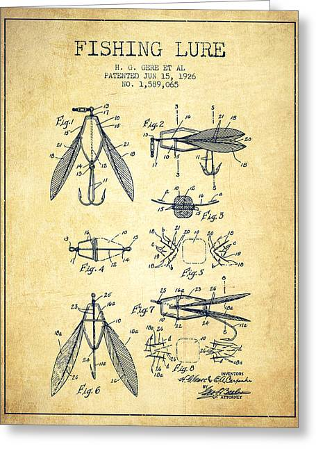 Fishing Rods Greeting Cards - Fishing Lure Patent from 1926 - Vintage Greeting Card by Aged Pixel