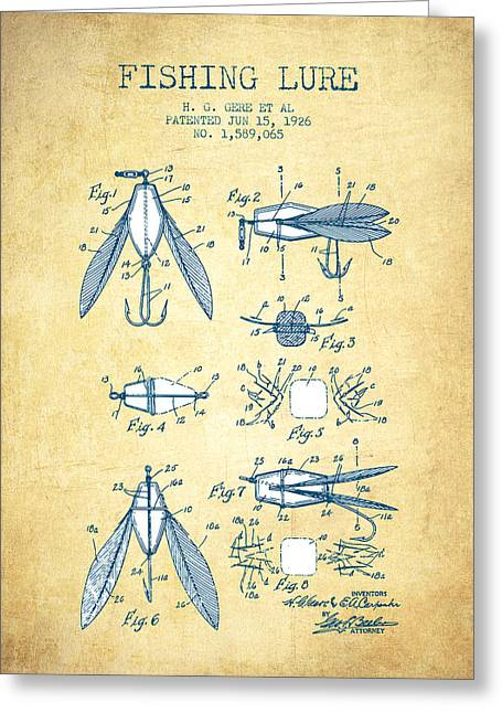 Fishing Rods Greeting Cards - Fishing Lure Patent from 1926 - Vintage Paper Greeting Card by Aged Pixel
