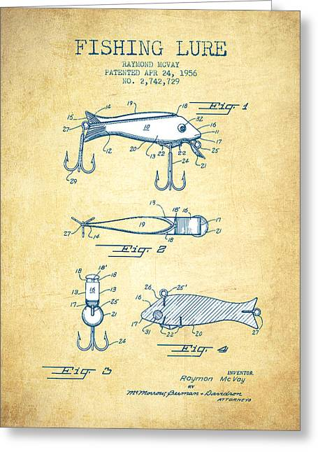 Gone Fishing Greeting Cards - Fishing Lure Patent from 1956 - Vintage Paper Greeting Card by Aged Pixel