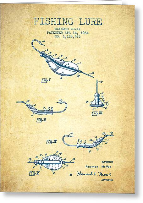 Gone Fishing Greeting Cards - Fishing Lure Patent from 1964 - Vintage Paper Greeting Card by Aged Pixel