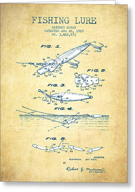 Tackle Greeting Cards - Fishing Lure Patent from 1969 - Vintage Paper Greeting Card by Aged Pixel